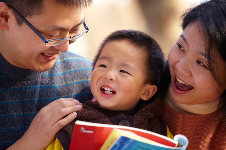 Family enjoying reading together